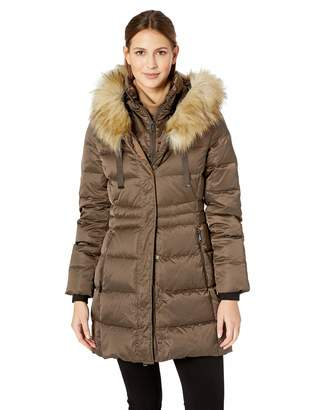 T Tahari Women's Fitted Puffer Coat with bib Detail and Faux Fur Strip, XS
