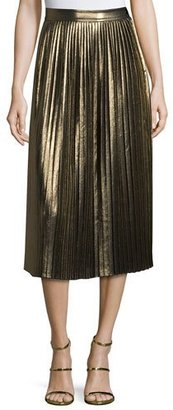 Elizabeth and James Lucy Pleated Lamé Midi Skirt, Gold $395 thestylecure.com