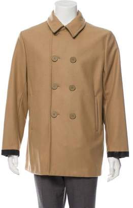Marni Leather-Trimmed Wool-Blend Coat