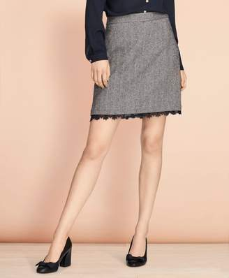 Brooks Brothers Lace-Trimmed Herringbone A-Line Skirt