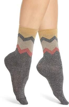 Sarah Borghi Nancy Metallic Chevron Ankle Socks
