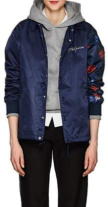 Yohji Yamamoto Regulation REGULATION WOMEN'S ROSE-PRINT TECH-FABRIC JACKET - NAVY SIZE 3 JP
