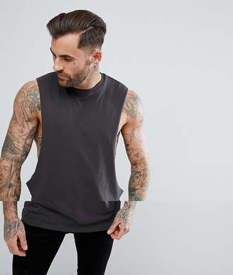 Asos Design DESIGN longline vest with extreme dropped armhole in grey