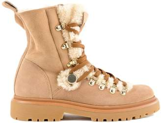 Moncler Glitter Shearling Lined Hiking Boots