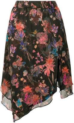 IRO asymmetric floral print skirt