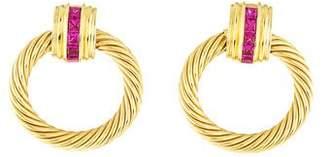David Yurman 18K Ruby Cable Earrings