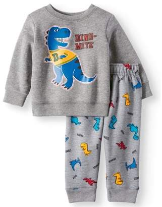 Garanimals Graphic Sweatshirt & Printed Jogger Pants, 2pc Outfit Set (Baby Boys)