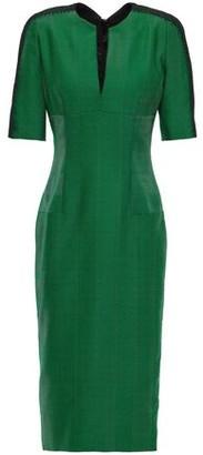 Amanda Wakeley Lace-trimmed Herringbone Wool Dress