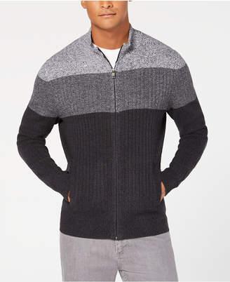 Alfani Men's Ombre Colorblocked Ribbed-Knit Full-Zip Cardigan