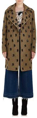Valentino Women's Embroidered Wool-Blend Double-Breasted Coat
