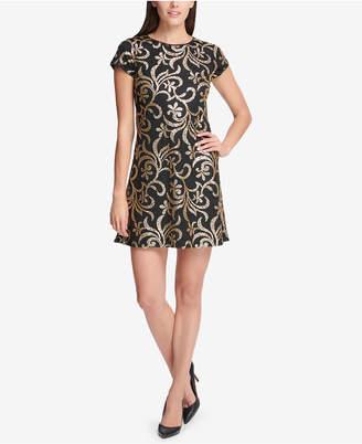 Kensie Sequined Scroll T-Shirt Dress
