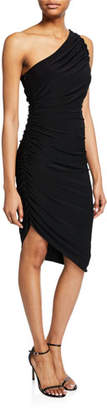 Halston One-Shoulder Ruched Asymmetric Jersey Dress