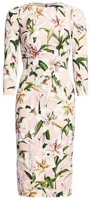 Dolce & Gabbana Three-Quarter Sleeve Lily Print Dress