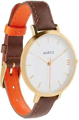 Auree Jewellery - Montmartre Yellow Gold Watch With Chestnut Brown & Orange Strap