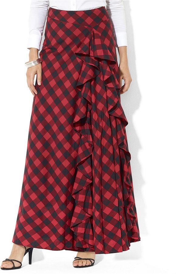Lauren Ralph Lauren Skirt, Plaid Ruffled Maxi
