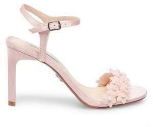 Betsey Johnson SB-Snow Embellished Satin Ankle-Strap Sandals