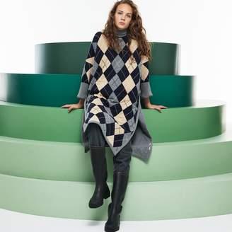 Lacoste Women's Fashion Show Argyle Wool Jacquard Poncho Dress