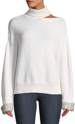 Alice + Olivia Gemini Shoulder-Cutout Embellished Turtleneck Sweater