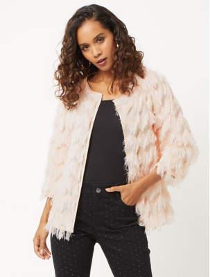 Blaze Pink Tassel Length Sleeve Blazer
