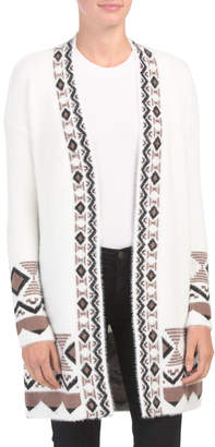 Open Front Cardigan With Geometric Trim