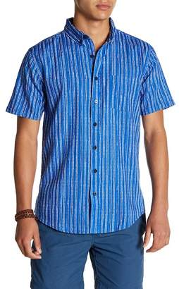 Onia Jack Striped Short Sleeve Trim Fit Linen Shirt