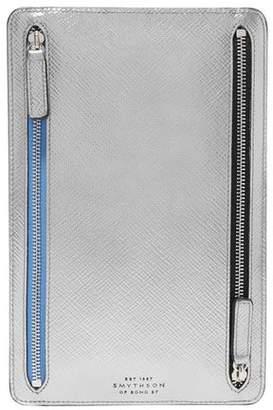 56a357e4f1d0 Smythson Panama Metallic Textured-leather Wallet