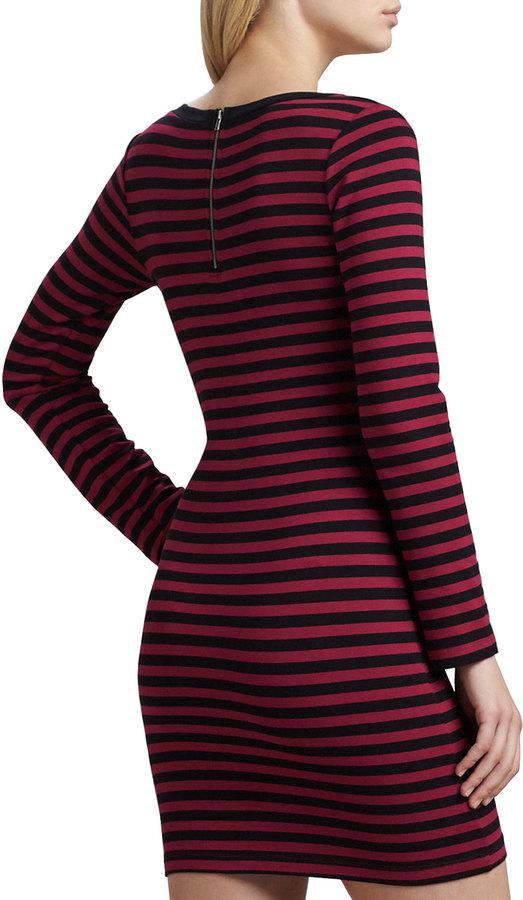 Splendid Sangria Fitted Long-Sleeve Striped Dress