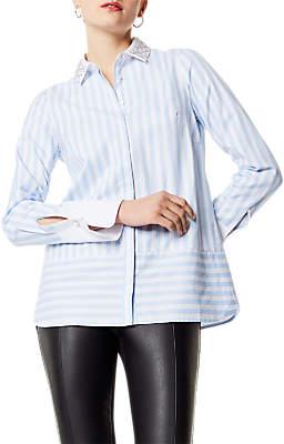 Karen Millen Embellished Collar Shirt, Blue/Multi