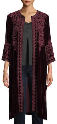 Johnny Was Hirsch Embroidered Velvet Midi Coat