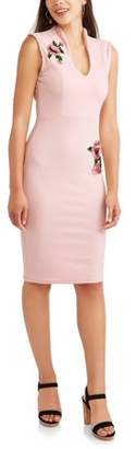 Almost Famous Juniors' Sleeveless Drop Shoulder Dress with 3D Rose Applique and Pearls