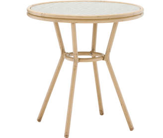 Webster Temple & Taupe & White 70cm Paris PE Rattan Round Dining Table