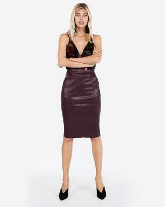 Express Minus The) Leather Pocket Pencil Skirt