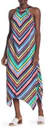 Laundry by Shelli Segal Striped Halter Sleeveless Maxi Dress