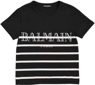 Balmain Striped Logo Print Cotton Jersey T-Shirt