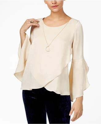 Thalia Sodi Ruffled Necklace Top