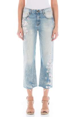Fidelity Taylor Painted Crop Wide Leg Jeans
