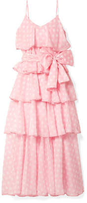 Lisa Marie Fernandez Imaan Tiered Polka-dot Cotton-voile Maxi Dress - Pink