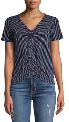Design Lab Striped Front Shirred T-Shirt