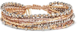Chan Luu Gold, Silver And Rose Gold-tone Beaded Wrap Bracelet - Copper