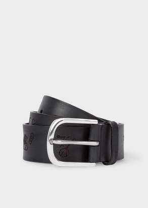 Paul Smith Men's Black Embossed 'Soho' Pattern Leather Belt