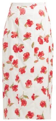 Altuzarra Stefano Floral Devore Chiffon Midi Skirt - Womens - White Multi