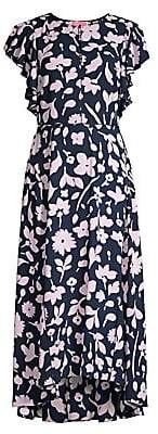 Kate Spade Women's Splash Flutter Sleeve Floral Midi Dress