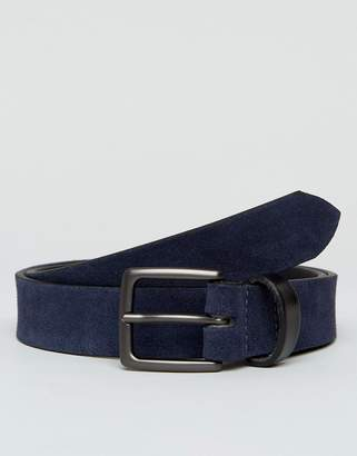 Peter Werth Navy Suede Belt With Contrast Keeper