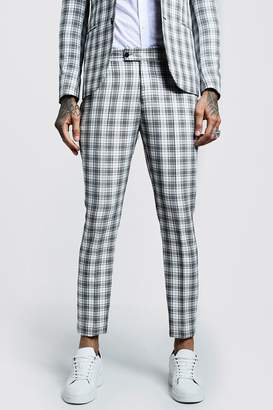 boohoo Check Skinny Fit Cropped Suit Pants