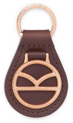 Deakin & Francis Kingsman Leather and Rose Gold-Plated Key Fob - Rose gold