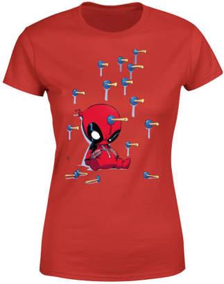 Marvel Deadpool Cartoon Knockout Women's T-Shirt - Red