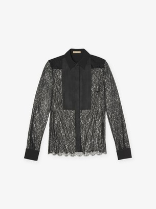 Michael Kors Chantilly Lace Tuxedo Blouse