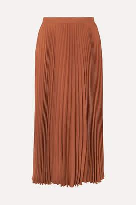 Valentino Pleated Silk Midi Skirt - Orange