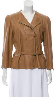 Fendi Leather Selleria-Stitched Jacket silver Leather Selleria-Stitched Jacket