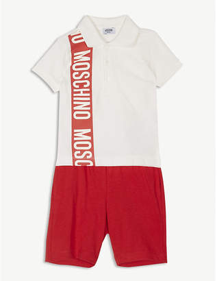 Moschino Logo print cotton polo shirt and shorts set 6-36 months